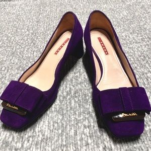 PRADA Blue purple Suede Court Shoes with Bow